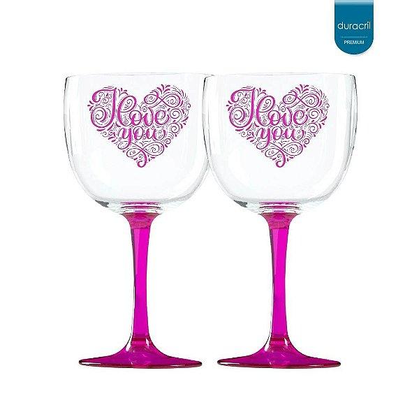 02 Taças de Gin Bicolor rosa translúcido 580 Ml Personalizadas 'Coração Love you'