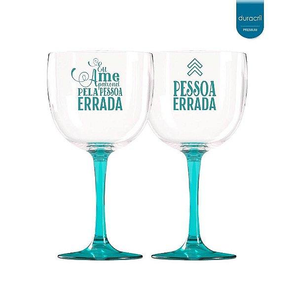 Taças de Gin Bicolor azul claro translúcido 580 Ml Personalizadas 'Eu me apaixonei pela pessoa errada'