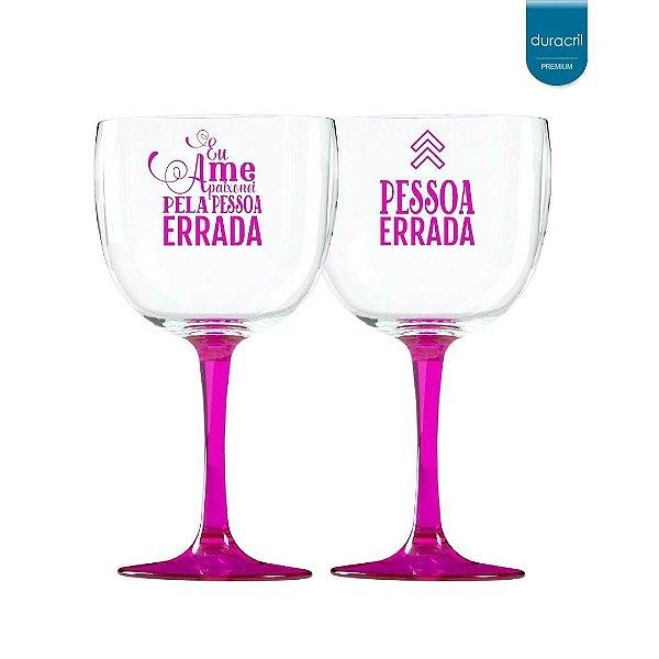 02 Taças de Gin Bicolor rosa translúcido 580 Ml Personalizadas 'Eu me apaixonei pela pessoa errada'