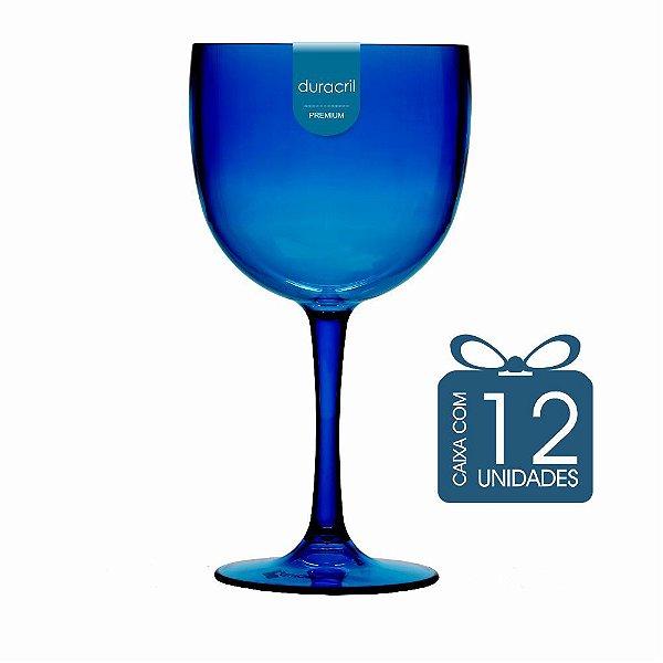 12 Taças de Gin 580 Ml Azul Escuro Translúcida
