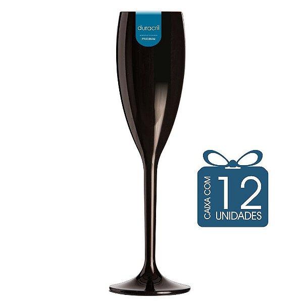 12 Taças Champagne 160 ml Preta