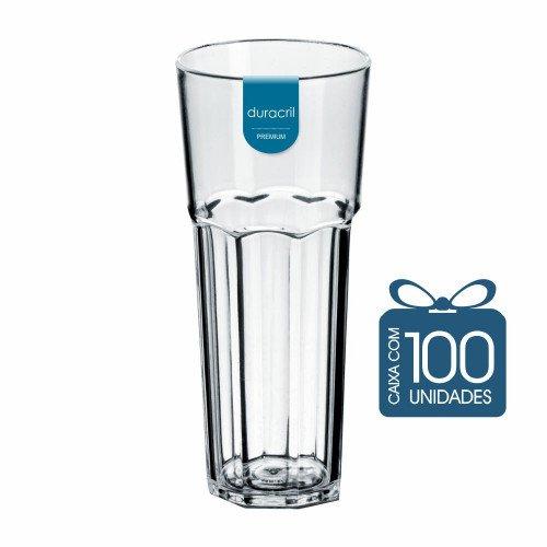 100 Copos Oitavado 350 ml Transparente