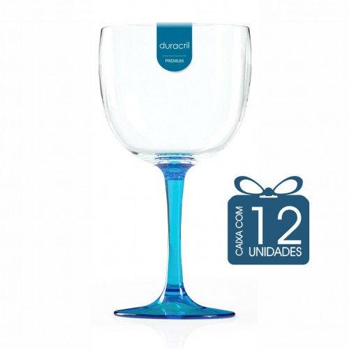 12 Taças de Gin Bicolor 580 Ml Azul Claro Translúcido