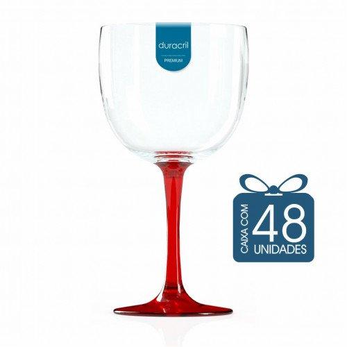 48 Taças de Gin Bicolor 580 Ml Vermelha Translúcida