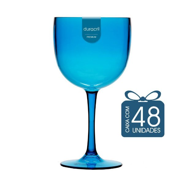 48 Taças de Gin 580 Ml Azul Claro Translúcido