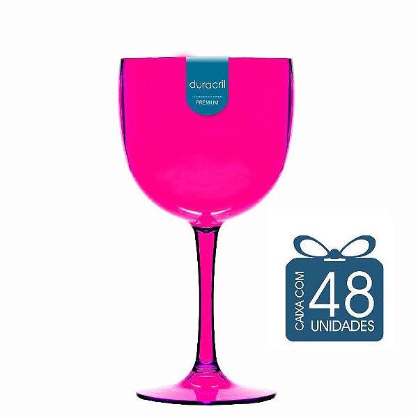 48 Taças de Gin 580 Ml Rosa Translúcido