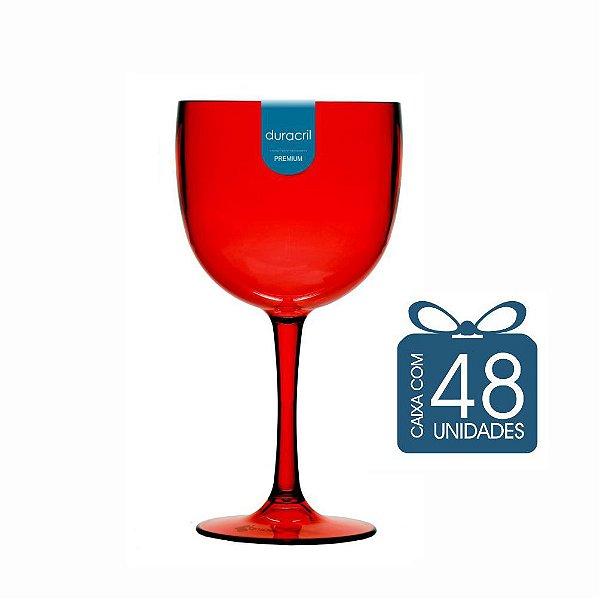 48 Taças de Gin 450 Ml Vermelho Translúcido
