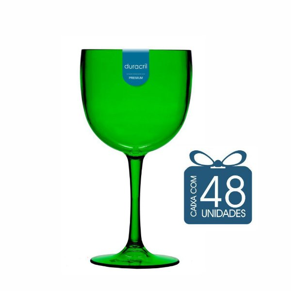 48 Taças de Gin 450 Ml Verde Translúcido