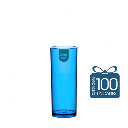 100 Copos Long Drink 330 ml Azul Translúcido