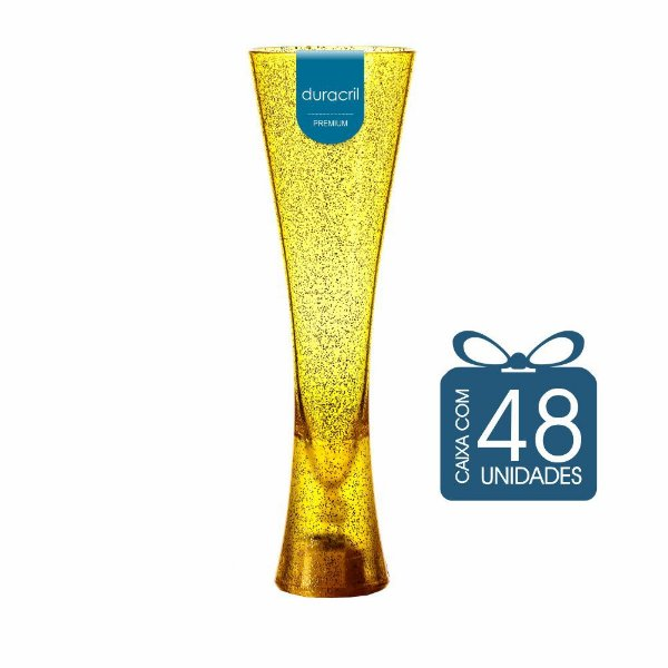 48 Taças Paris 180 ml Amarela Translúcida com Glitter