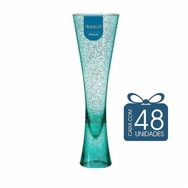 48 Taças Paris 180 ml Verde Claro com Glitter