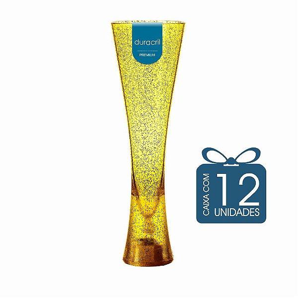12 Taças Paris 180 ml Amarela Translúcida com Glitter