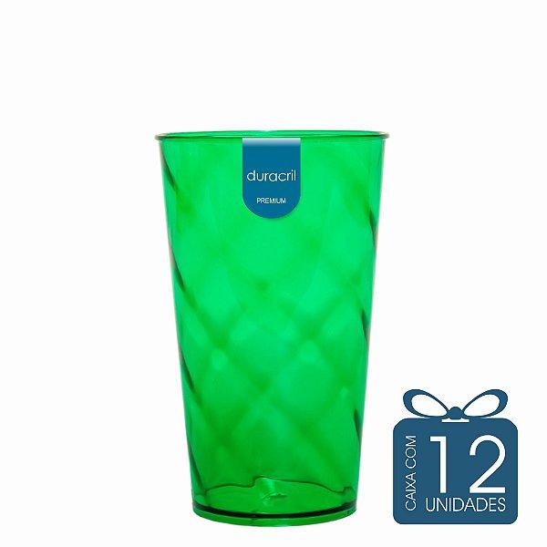 12 Copos Twister 500 ml Verde Escuro Translúcido