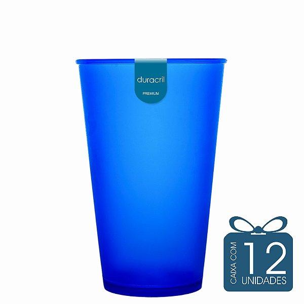 12 Copos Ecológico Biodegradável 550 ml Azul Translúcido