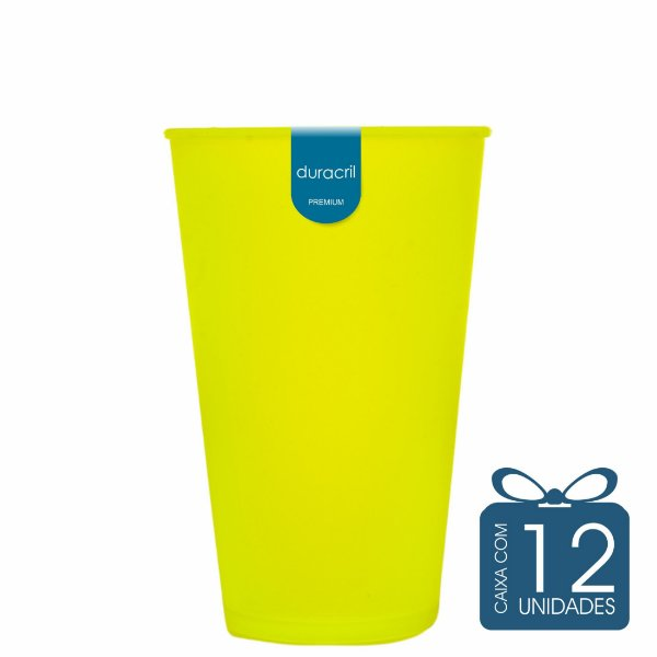 12 Copos Ecológico Biodegradável 550 ml Amarelo Neon
