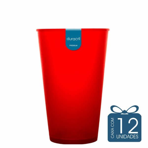 12 Copos Ecológico Biodegradável 550 ml Vermelho
