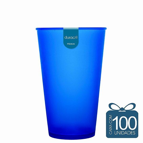100 Copos Ecológico Biodegradável 550 ml Azul