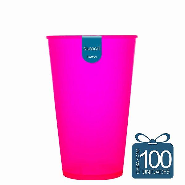 100 Copos Ecológico Biodegradável 550 ml Rosa Neon