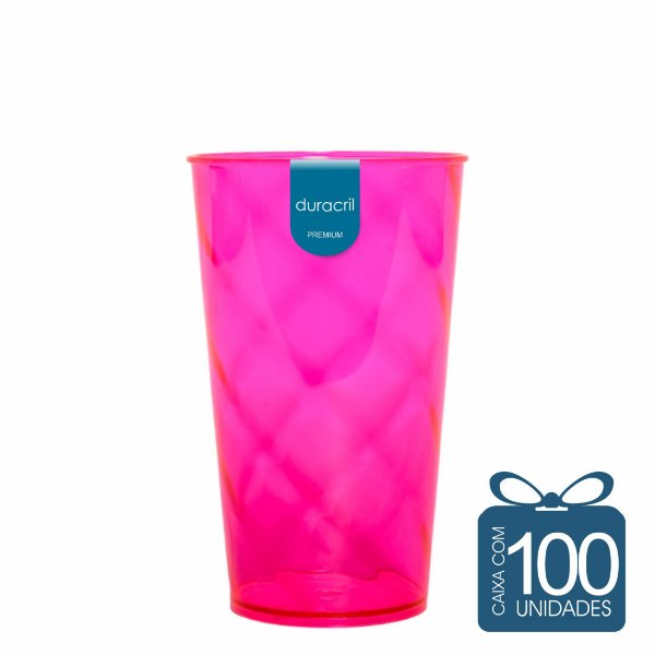 100 Copos Twister 500 ml Rosa Neon