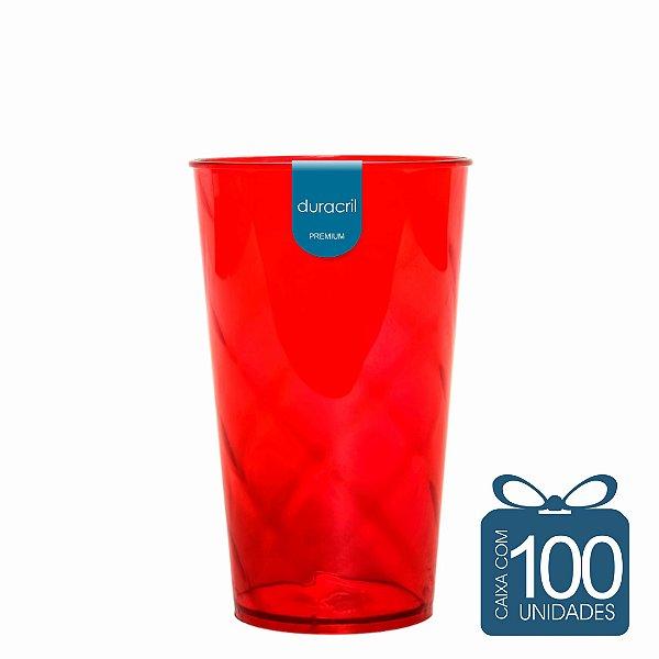 100 Copos Twister 500 ml Vermelho
