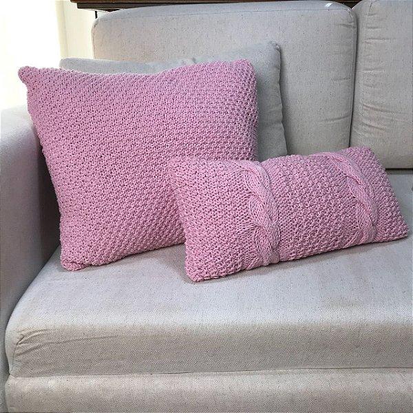 Almofada tricô rosa