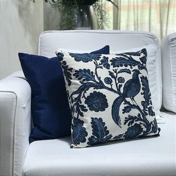Almofada sarja pássaro e flor azul e branco