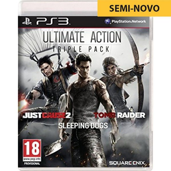 Jogo Ultimate Action Triple Pack Just Cause 2 Sleeping Dogs Tomb Raider - PS3 Seminovo