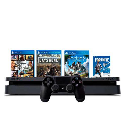 Console PS4 Slim 1TB Preto + GTA V + Days Gone + Horizon Zero Dawn + Fortnite + 3 Meses PSN