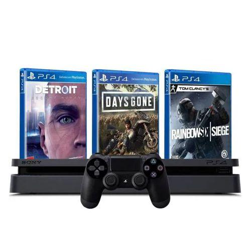 Console PS4 Slim 1TB Preto + Days Gone + Detroit Become Human + Rainbow Six Siege + 3 Meses PSN