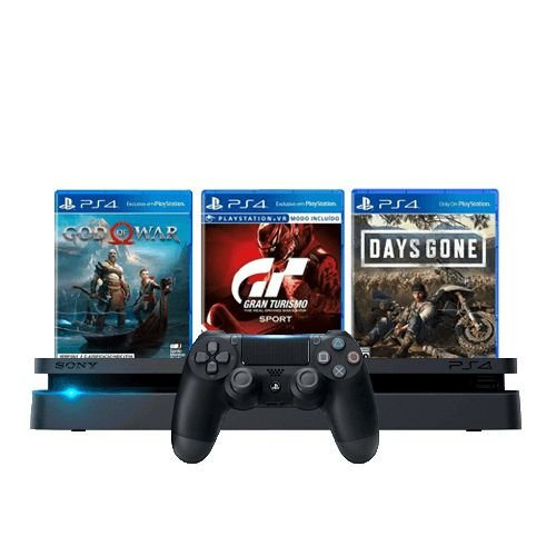 Console PS4 Slim 1TB Preto + God of War + Gran Turismo Sport + Days Gone + 3 Meses PSN