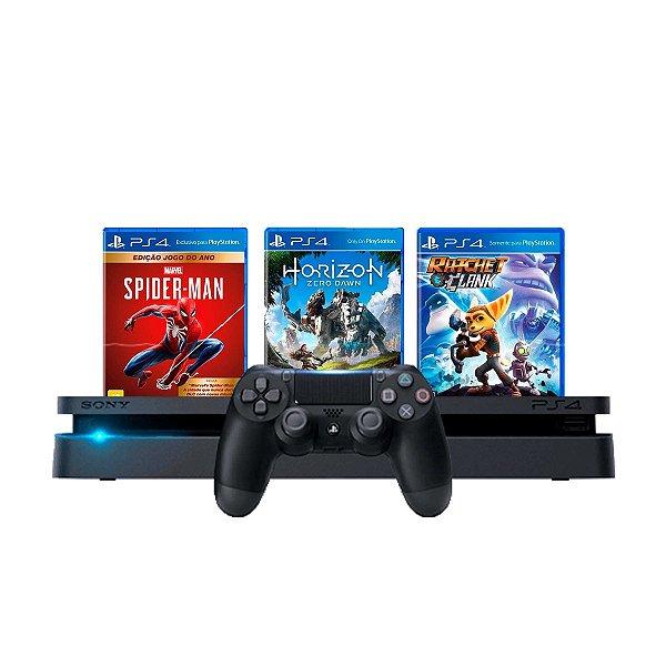 Console PS4 Slim 1TB Preto + Spider Man + Horizon Zero Dawn + Ratchet e Clank  + 3 Meses PSN