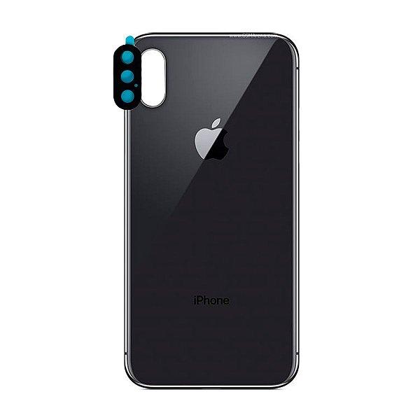 Pç Apple Tampa Traseira iPhone X Preto Com Lente
