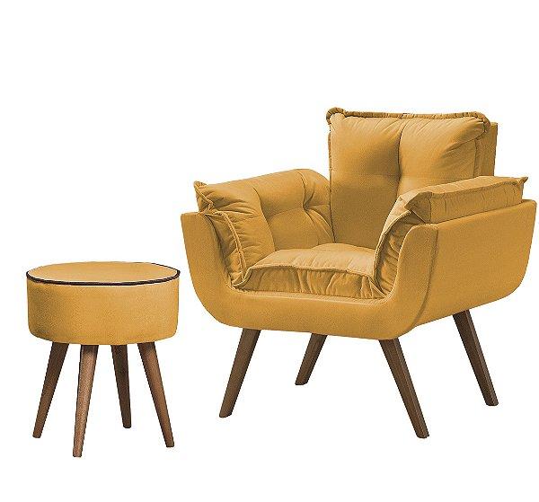 Conjunto Poltrona Opalla Soft+Puff Amarelo C/ Marrom