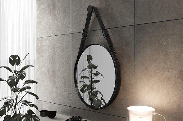 Espelho Decorativo Fine 55cm com Alça em Couro - Preto