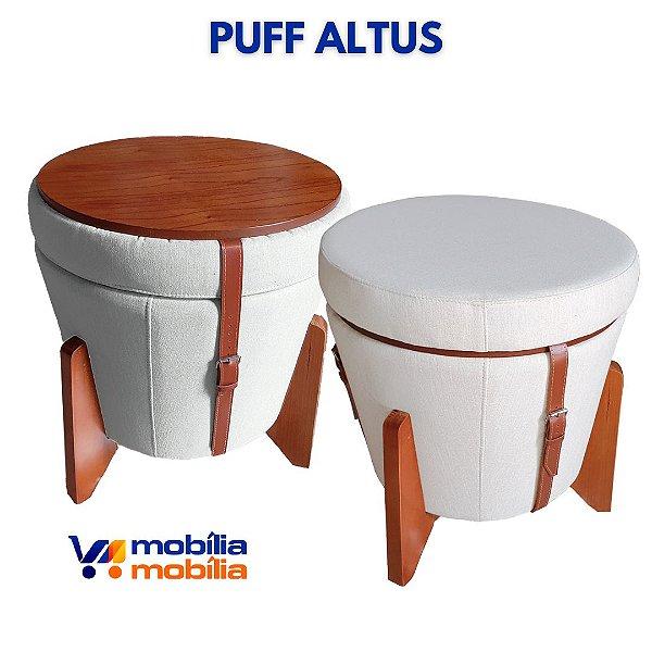 Puff Banqueta Altus - Linho Claro - Correia Marrom