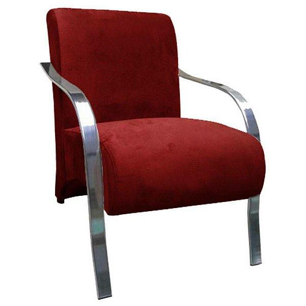 Poltrona Vênus Braço de Aluminio Tecido Liso - Vermelho