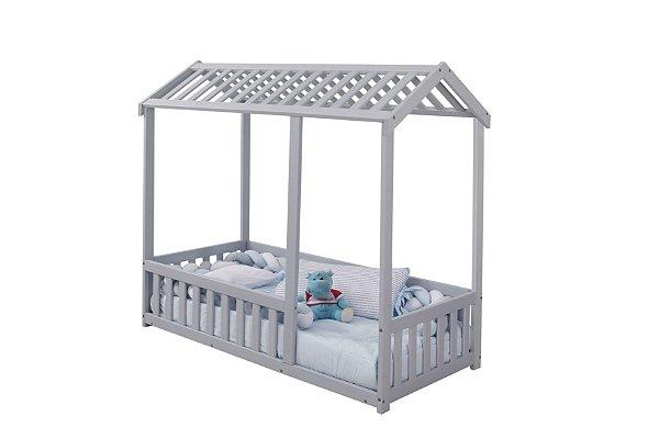 Cama Infantil Montessoriano Casinha com Grade Bruna Azul