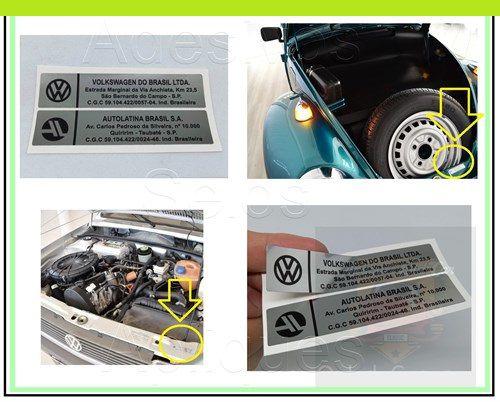 ADESIVO VOLKSWAGEN DO BRASIL LTDA e AUTOLATINA BRASIL S.A - (SELO MINI-FRENTE / CX. ESTEPE)