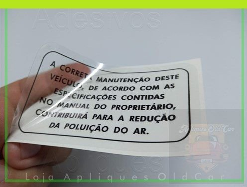 ADESIVO A CORRETA MANUTENÇÃO DESTE VEÍCULO - LINHA GM (REVERSO / COLAGEM INTERNA)