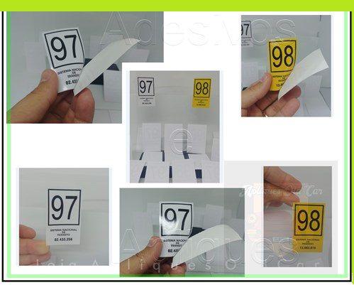 KIT Selos Detran - Licenciamento 97 e 98 - Adesivos da Época
