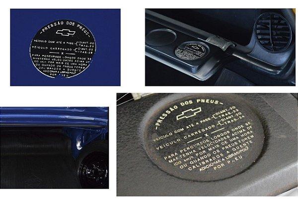 Pressão dos Pneus - Porta Luvas Opala 1969 até 1974 - (Decalque marcação Porta Luvas)