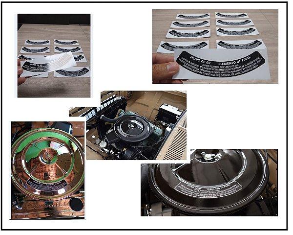 Adesivo Filtro de AR Elemento de Papel  - Tamanho Pequeno  - Opala / Caravan / C10 / Veraneio - Linha Antiga GM