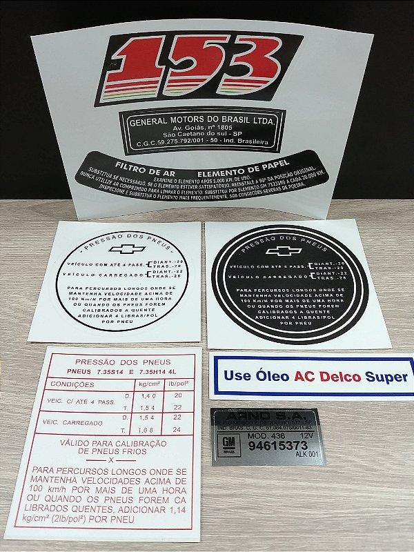 Kit Completo de Adesivos Opala 4cil. Motor 153 (Motor Vermelho 4cil. Opala até 1973) - Selos e Adesivos do Cofre, Motor e Lataria
