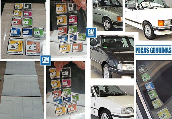 Selos Qualidade Garantida GM - Para-brisa - Chevette / Comodoro / Diplomata / Omega / Kadett / S10 / Vectra