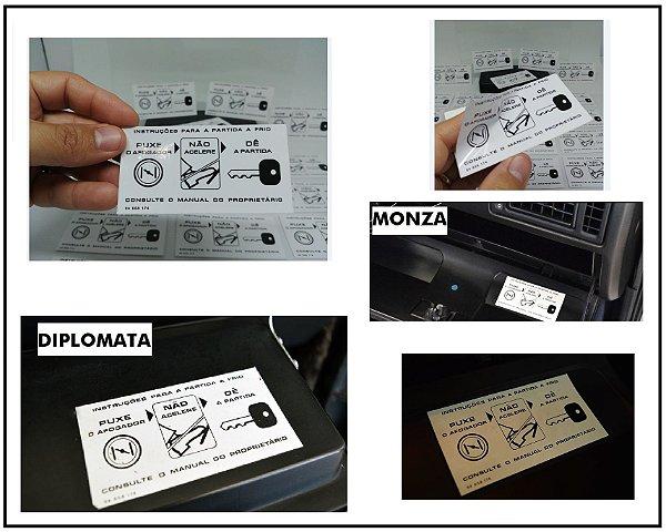 Adesivo Instruções Para Partida a Frio - Porta Luvas - Comodoro / Diplomata / Chevette / Monza / Kadett