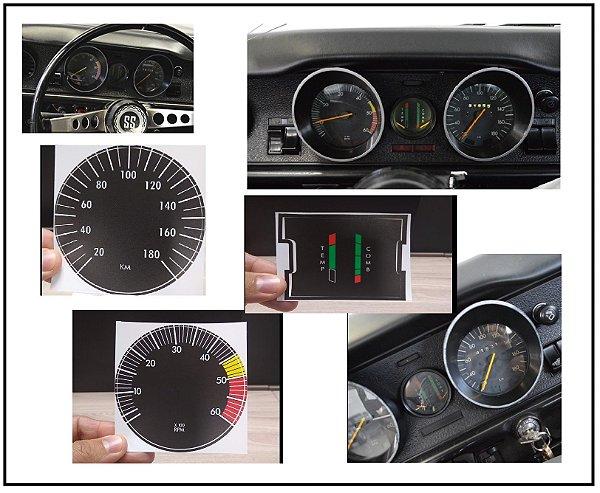 Kit de Apliques Painel de Instrumentos Opala / Caravan SS 1974 até 1980 ( Conta-Giros 6000 RPm + Marcadores COMB e TEMP Central  + Velocímetro 180KM)