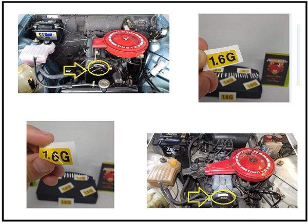 Adesivo 1.6G Capa Correia Chevette - Adesivo identificação do Motor 1.6 a Gasolina