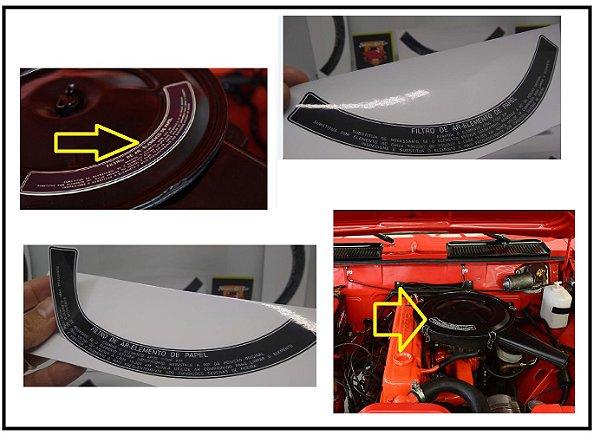 Adesivo Filtro de AR Elemento de Papel  - Tamanho Grande  - Opala / Caravan / Comodoro 1969 até 1986 - Acabamento Branco