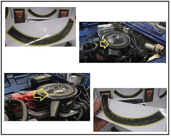 Adesivo Filtro de AR Elemento de Papel  - Tamanho Grande  - Opala / Caravan / Comodoro 1969 até 1986 - Acabamento AMARELO