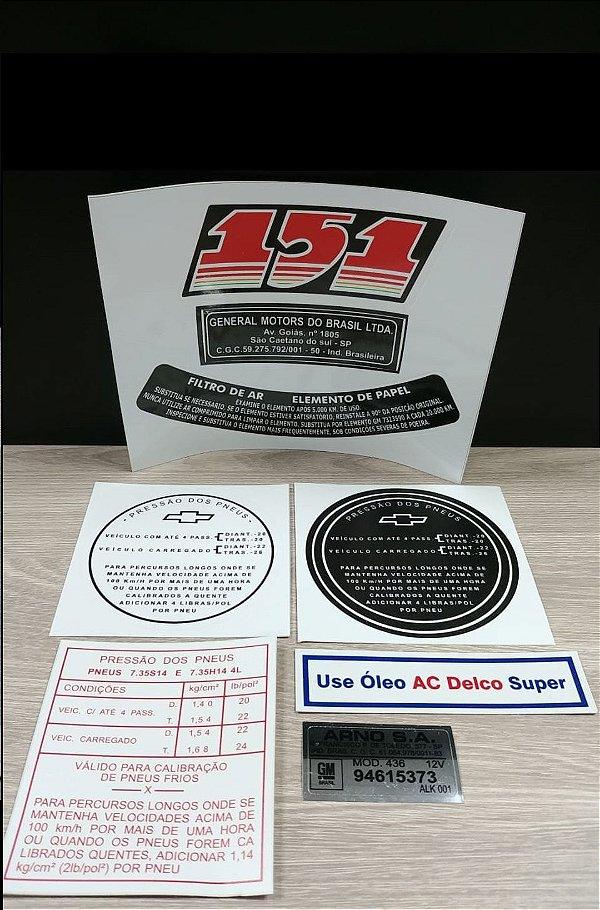 Kit Completo de Adesivos Opala 4cil. Motor 151 (Motor Azul 4cil. Opala até 1977) - Selos e Adesivos do Cofre, Motor e Lataria
